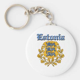 Grunge Estonia coat of arms designs Basic Round Button Key Ring