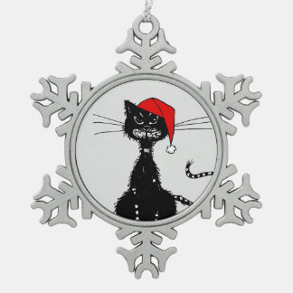 Grunge Evil Black Cat Christmas Snowflake Pewter Christmas Ornament