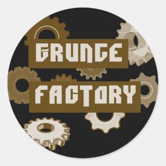 Grunge Factory Round Stickers
