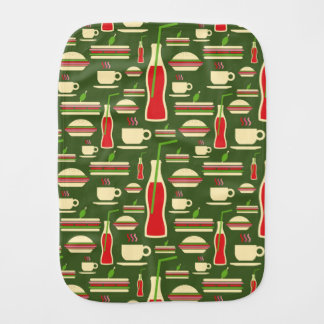 Grunge Fast Food Icons Set Pattern Burp Cloths