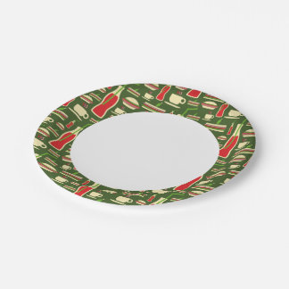 Grunge Fast Food Icons Set Pattern Paper Plate