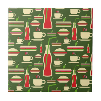 Grunge Fast Food Icons Set Pattern Tile