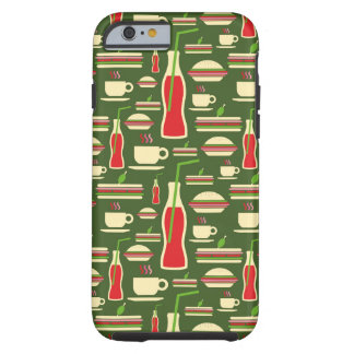 Grunge Fast Food Icons Set Pattern Tough iPhone 6 Case