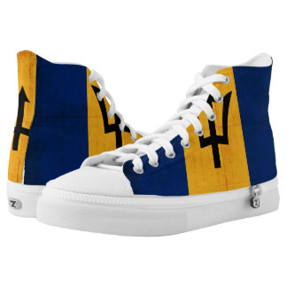 Grunge Flag Of Barbados Printed Shoes