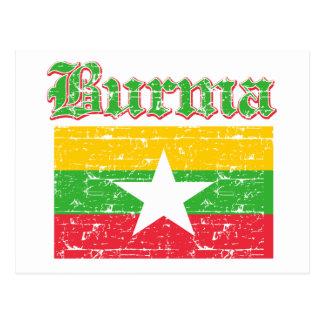 Grunge Flag of Burma Postcard