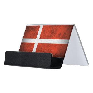 Grunge Flag Of Denmark Desk Business Card Holder