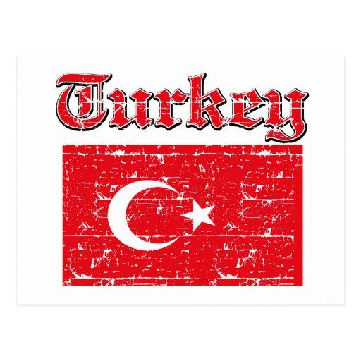Grunge Flag of Turkey Postcard