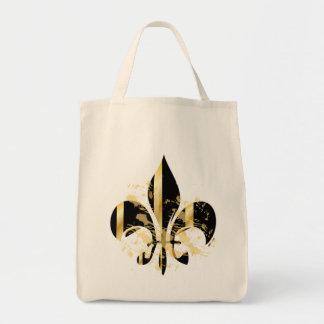 Grunge Fleur de Lis/black + gold Bags