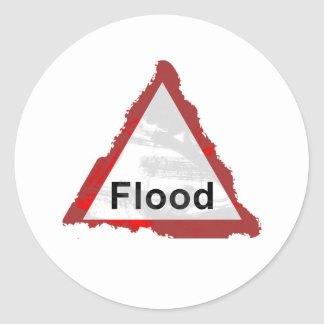 Grunge Flood Sign Round Sticker