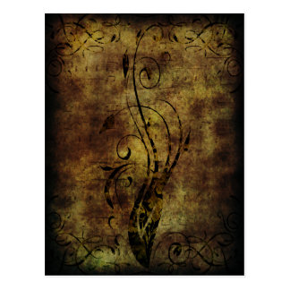 Grunge Floral and Musical Notes Rustic Brown Postcard