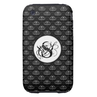 Grunge Floral: Black and White Tough iPhone 3 Cases
