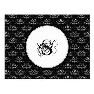 Grunge Floral: Black and White Postcard