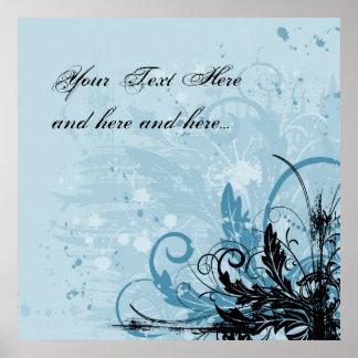 Grunge Floral Design - Light Blue Poster