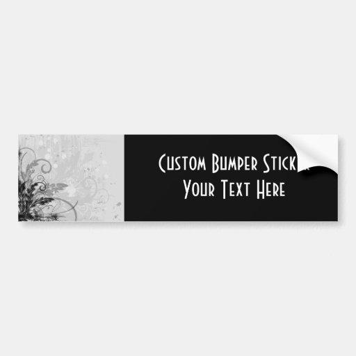Grunge Floral Design - Light Grey B&W Bumper Stickers