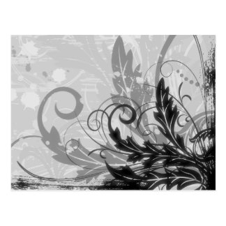 Grunge Floral Design - Light Grey B&W Postcard