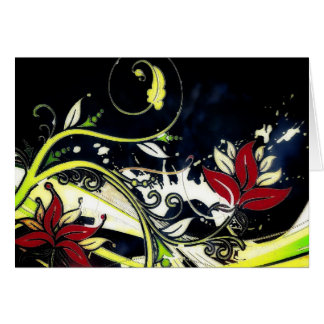 grunge floral notecard note card