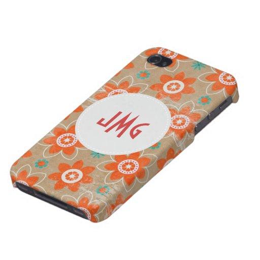 Grunge Floral Pattern Monogram iPhone 5 Case