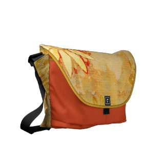 Grunge Floral Pattern Rickshaw Messenger Bag