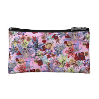 Grunge Floral (pink) Cosmetics Bags