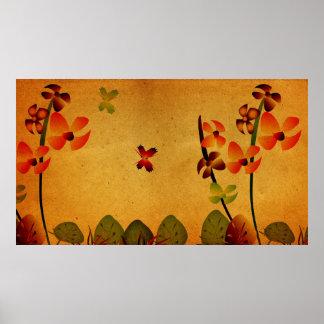 Grunge Floral Poster