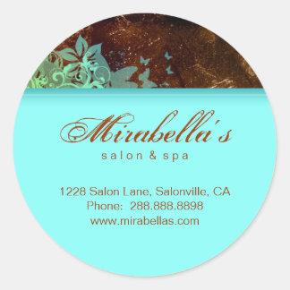Grunge floral sticker salon spa blue brown 2