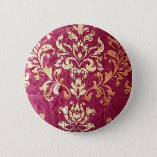 grunge floral Victorian Gold Burgundy damask 6 Cm Round Badge