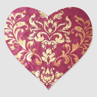 grunge floral Victorian Gold Burgundy damask Heart Sticker