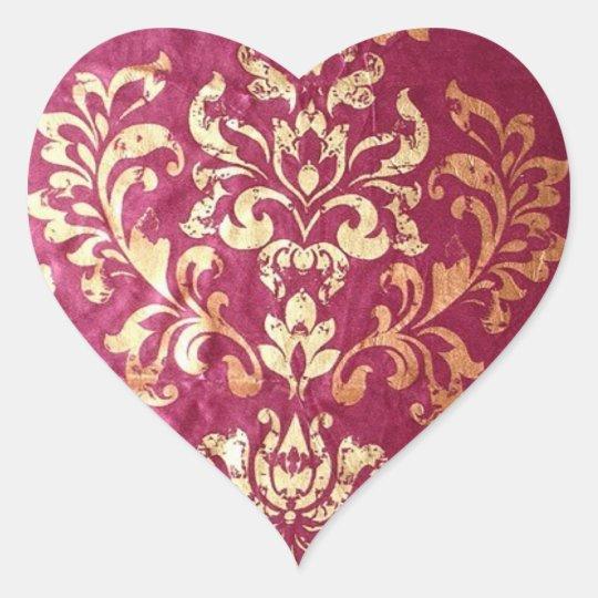 grunge floral Victorian Gold Burgundy damask Heart Sticker