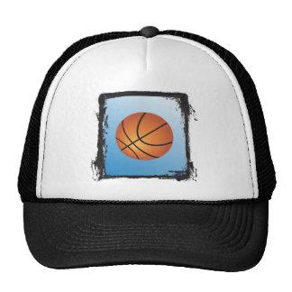 Grunge Frame Basketball Icon Blue Background Cap
