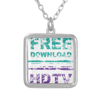Grunge Free Download Stamp and HDTV stamp Square Pendant Necklace