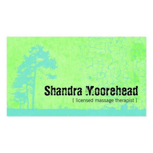Grunge Fresh Green Massage Therapist Business Card