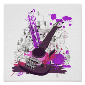 grunge girly electric guitar poster