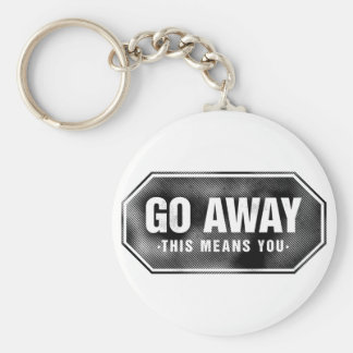 Grunge 'Go Away' sign Basic Round Button Key Ring