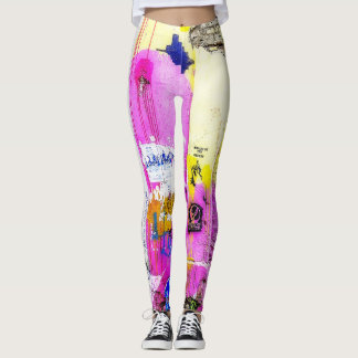 Grunge Graffiti Leggings Pink Yellow Blue