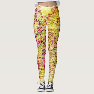 Grunge Graffiti Leggings Yellow Red