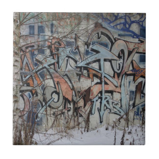 Grunge Graffiti Wall Small Square Tile