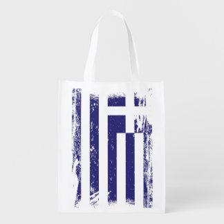 Grunge Greece Flag Reusable Grocery Bag