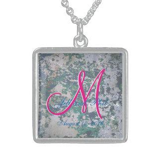 Grunge Green 3d Monogram Square Pendant Necklace