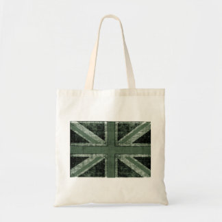 grunge green UK flag design Tote Bag