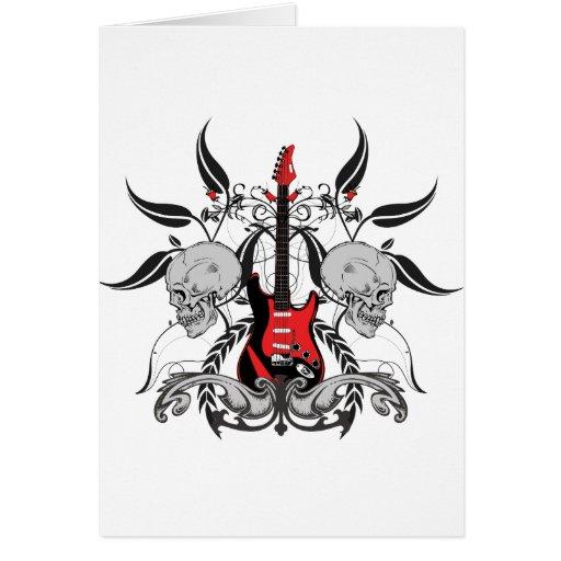 Grunge Guitar and Skull Greeting Card