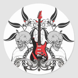 Grunge Guitar and Skull Classic Round Sticker