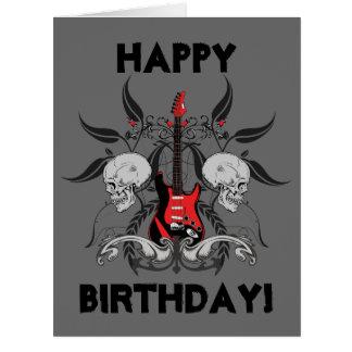 Grunge Guitar and Skull Happy Birthday Message Big Greeting Card