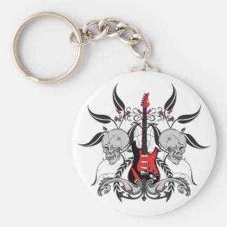 Grunge Guitar and Skull Keychain Keychain