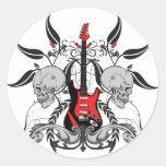 Grunge Guitar and Skull Round Sticker