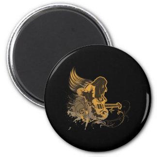 grunge guitar angel dude 6 cm round magnet