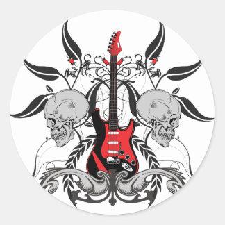 Grunge Guitar Round Sticker