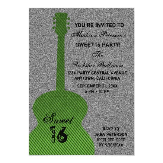 Grunge Guitar Stripes Sweet Sixteen Invite, Green Card