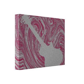 Grunge Guitar Swirls Canvas Print, Dark Pink Stretched Canvas Prints