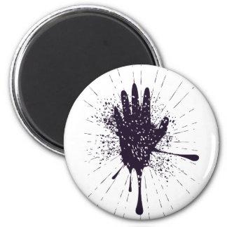 Grunge Hand with Gestures 6 Cm Round Magnet