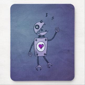 Grunge Happy Singing Robot Mouse Mat
